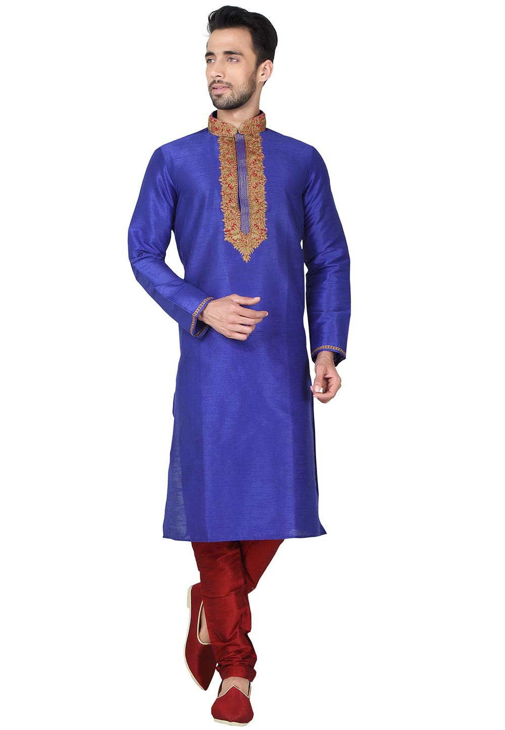 Blue Color Art Silk Designer Kurta Pajama With Embroidery Work.