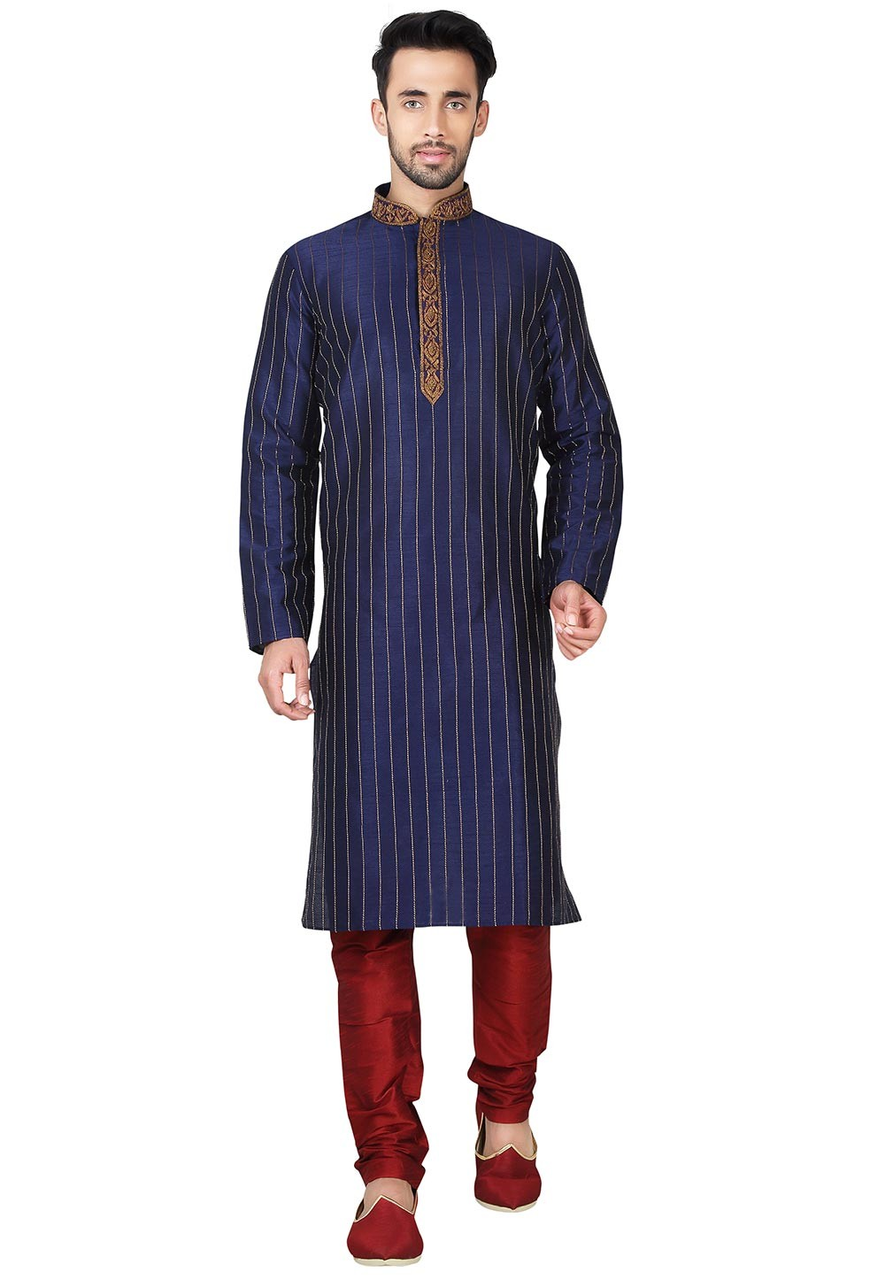Exquisite Blue Color Art Silk Party Wear Kurta Pajama With Thread Work.