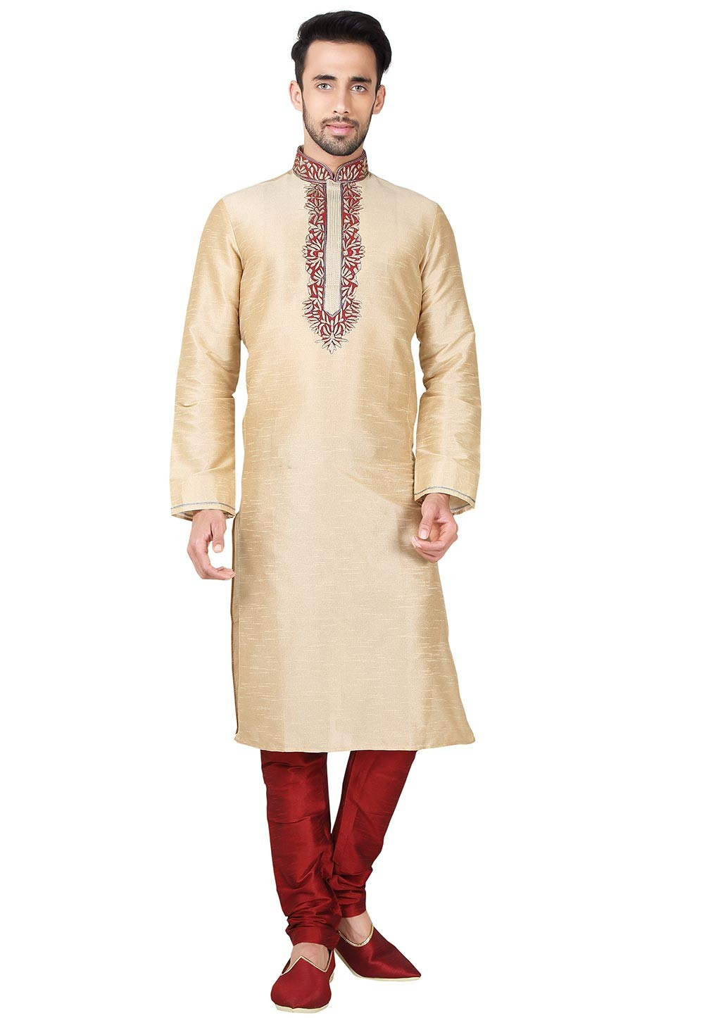 Art Silk Fabric Designer Kurta Pajama in Golden Color