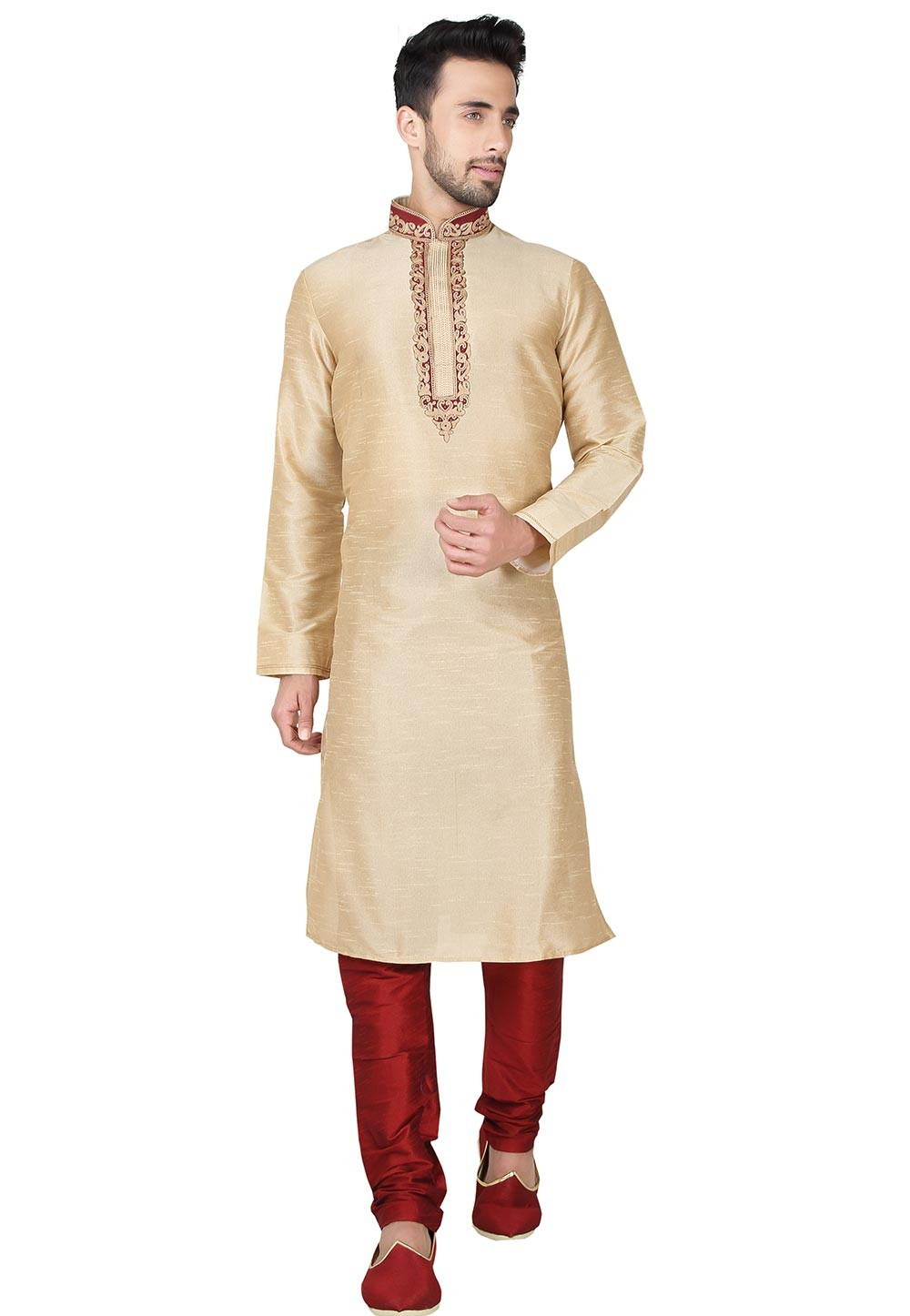 Exquisite Golden Color Art Silk Fabric Designer Kurta Pajama.