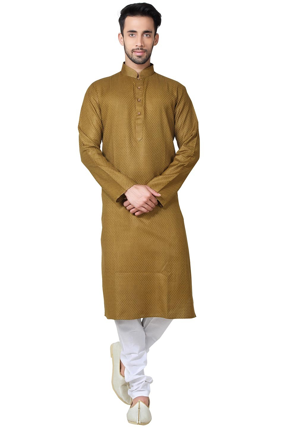Exquisite Brown,Yellow Color Silk Fabric Readymade Kurta Pyjama.