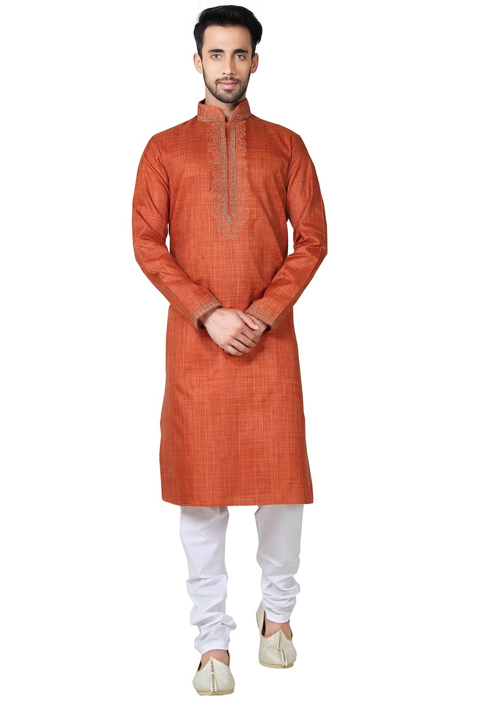 Red Color Cotton,Linen Fabric Readymade Kurta Pyjama With Embroidery Work.