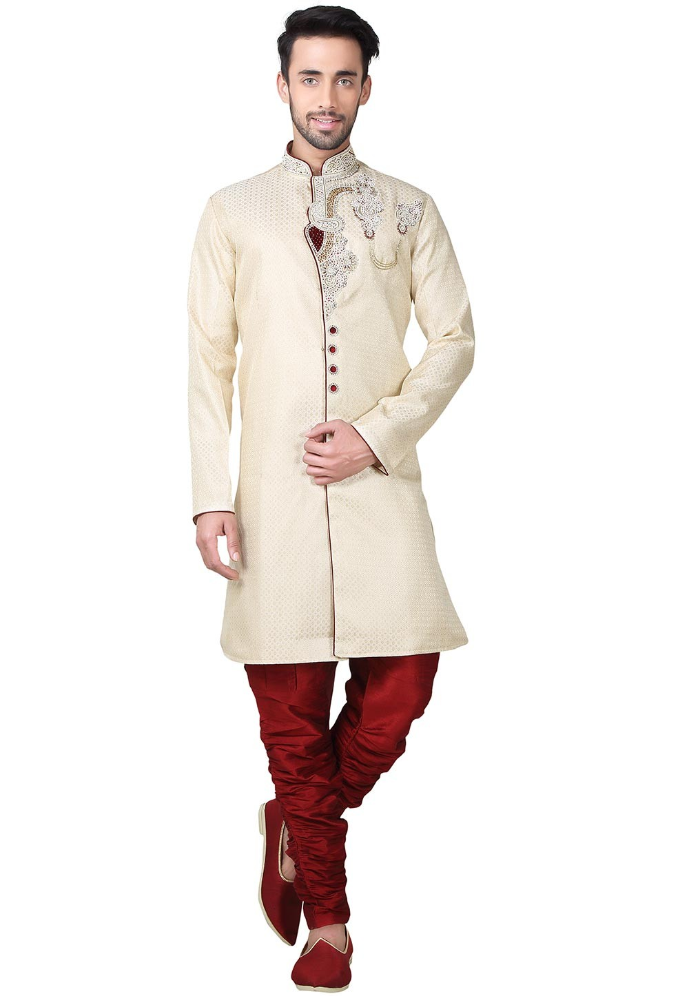 Golden Color Brocade Fabric Indian Wedding Kurta Pajama With With Hand Work.
