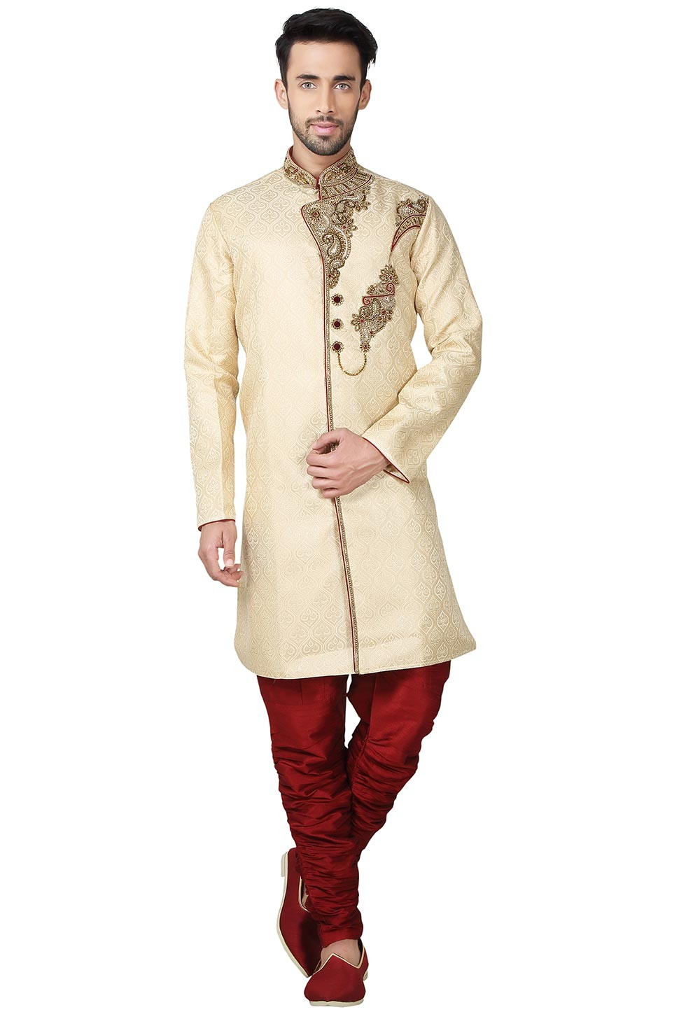 Men's Exquisite Golden Color Brocade Fabric Designer Kurta Pajama.