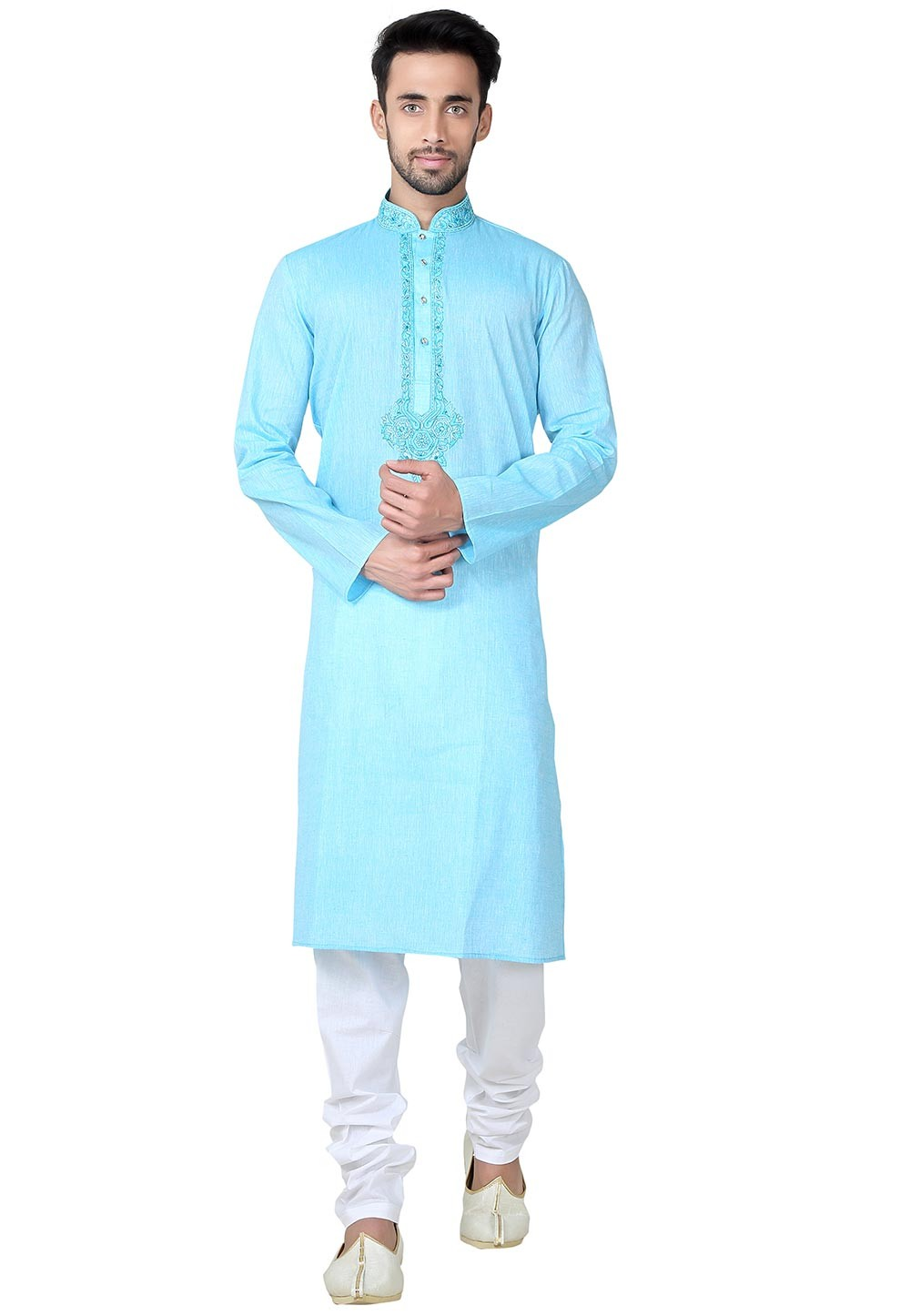 Attractive Turquoise Color Cotton Fabric Readymade Kurta Pajama.
