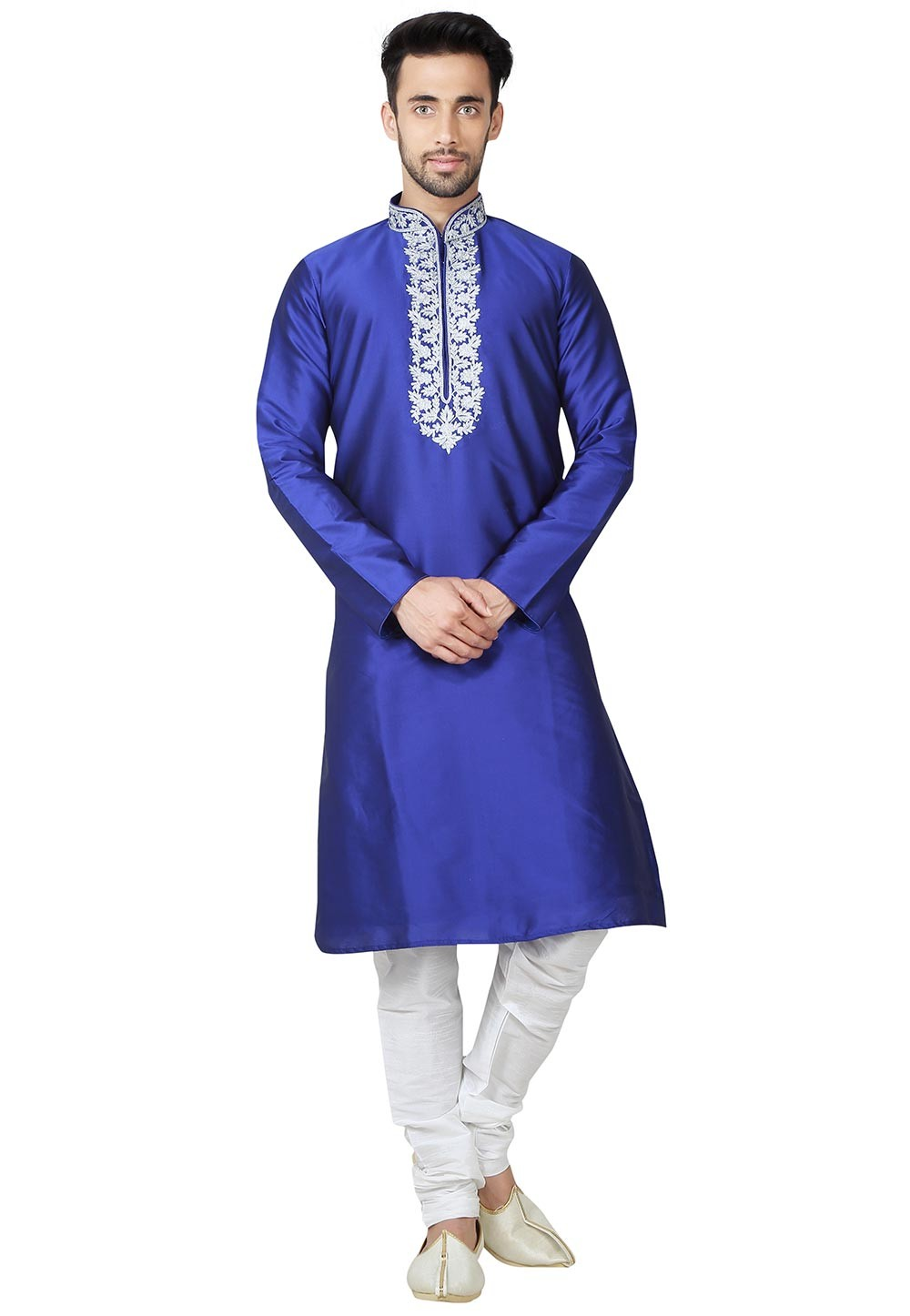 Blue Color Imported Fabric Party Wear Kurta Pajama.