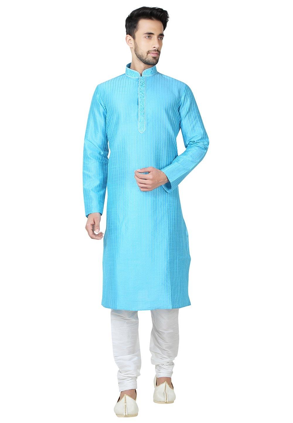 Turquoise Color Art Silk Fabric Readymade Kurta Pajama With Thread Work