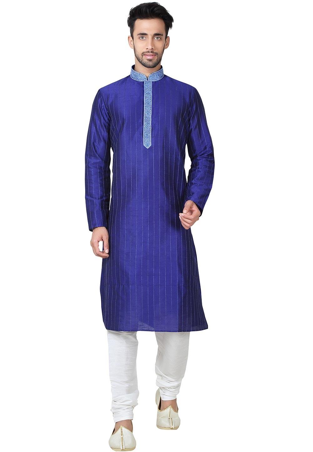Blue Color Art Silk Readymade Kurta Pajama With Thread Work.