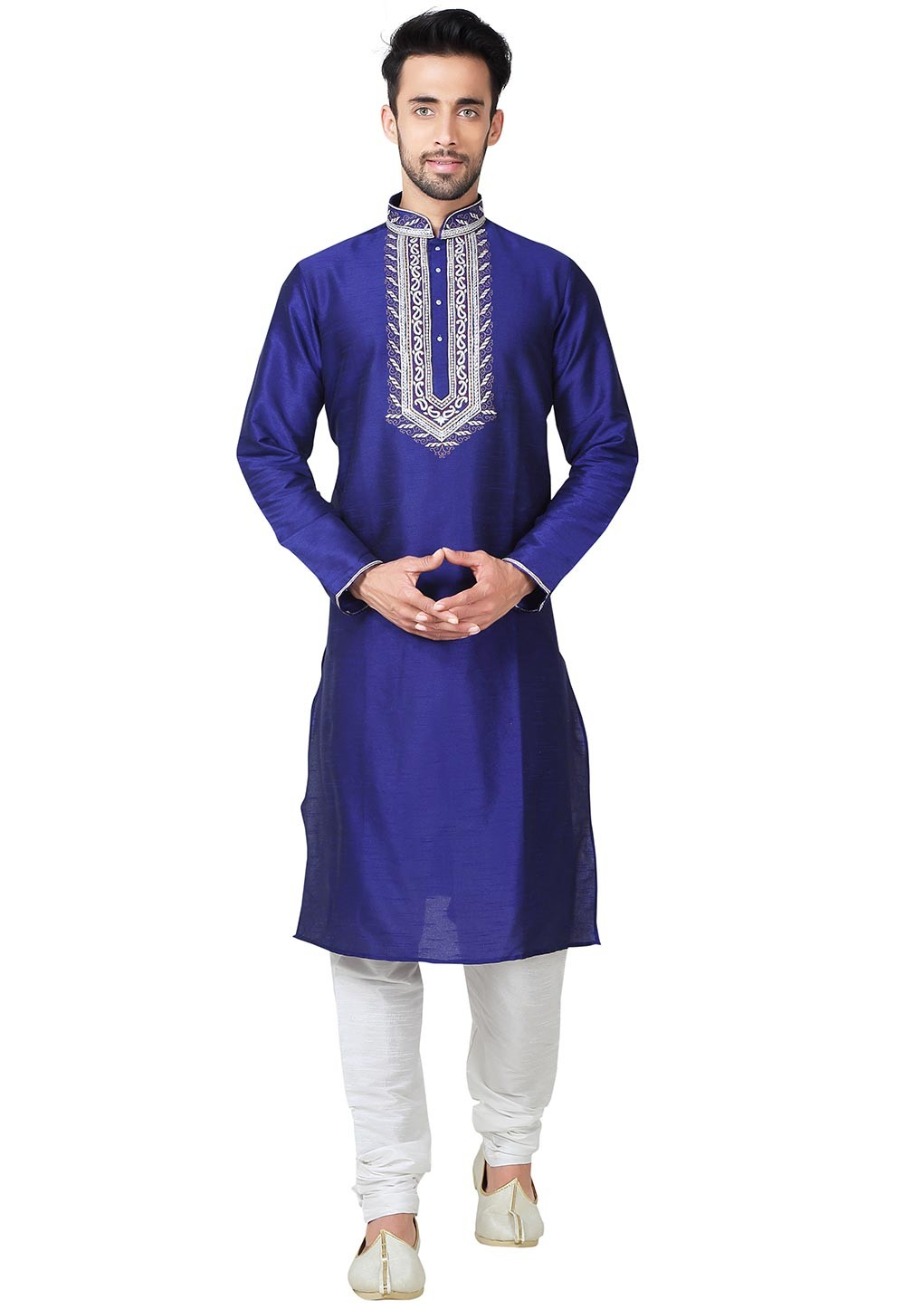 Blue Color Art Silk Fabric Indian Designer Kurta Pajama With Embroidery Work.