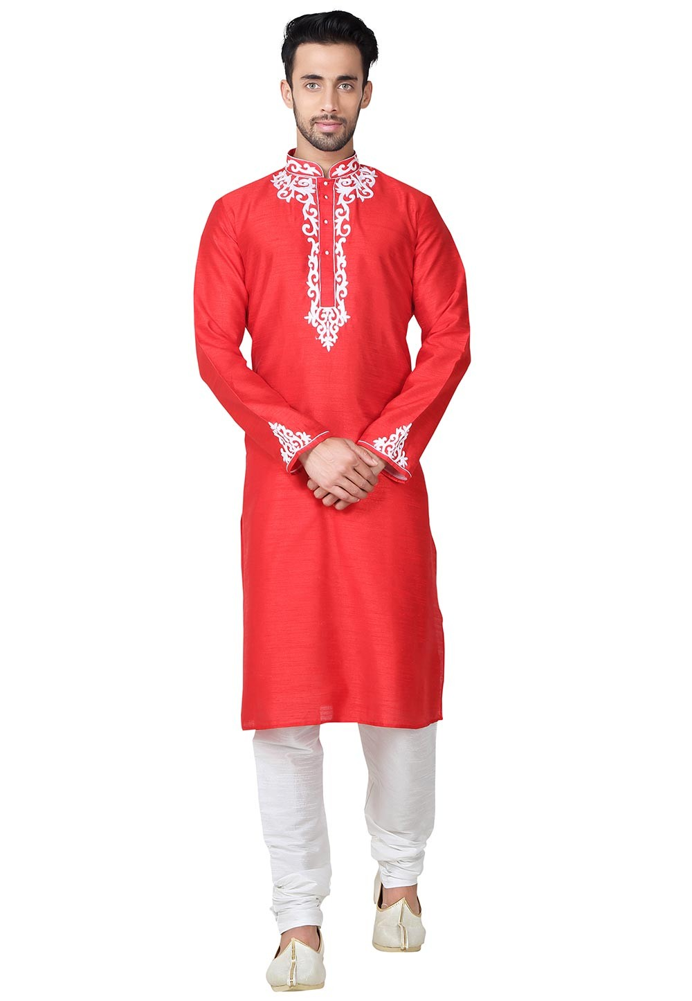 Men's Red Color Banglori Silk Fabric Readymade Kurta Pajama.
