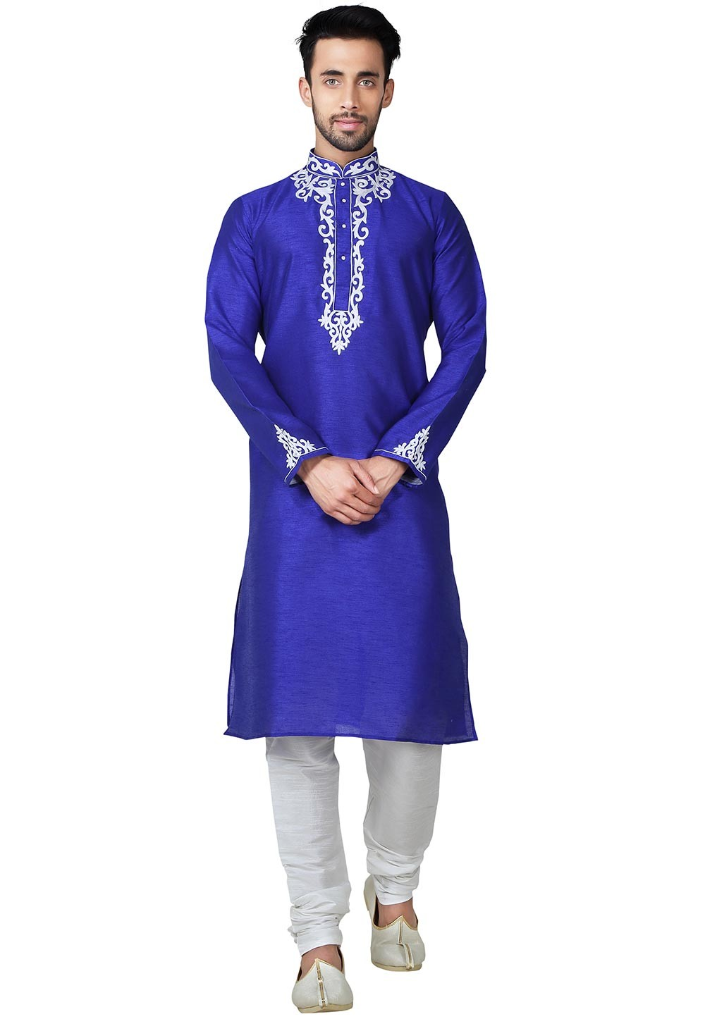 Blue Color Banglori Silk Readymade Kurta Pyjama With Embroidery Work