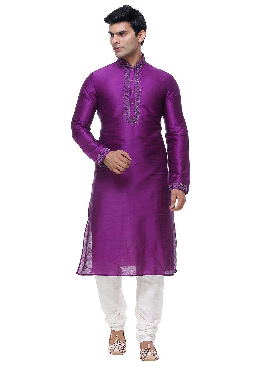 Purple Color Silk Readymade Kurta Pajama.