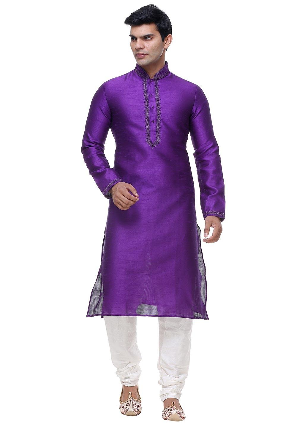 Purple Color Party Wear Kurta Pajama.