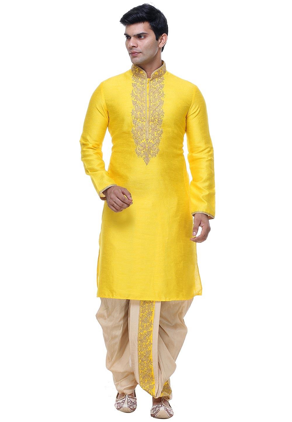 Buy Dhoti Kurta Online for Men in Yellow Color