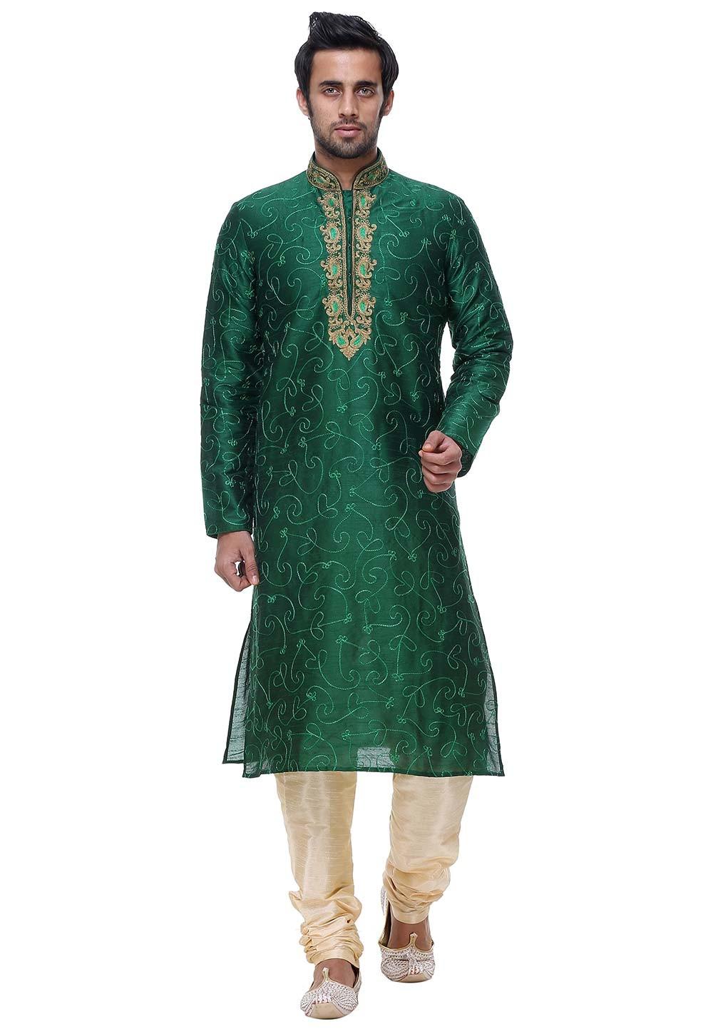 Green Color Silk Indian Wedding Kurta Pajama.