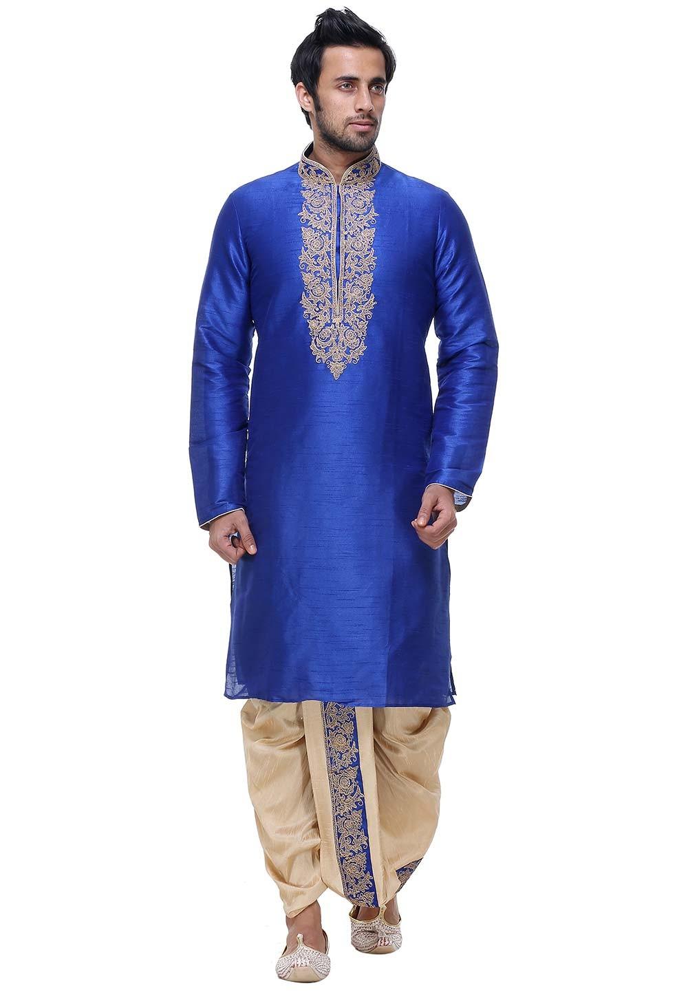 Blue Color Silk Designer Dhoti Kurta Pajama Online India
