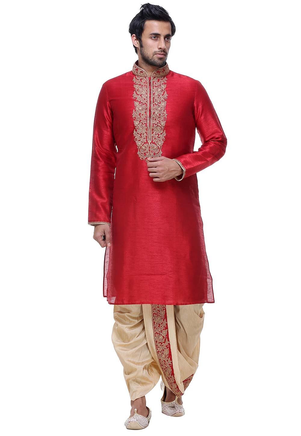 Maroon Color Silk Indian Wedding Kurta Pajama for men