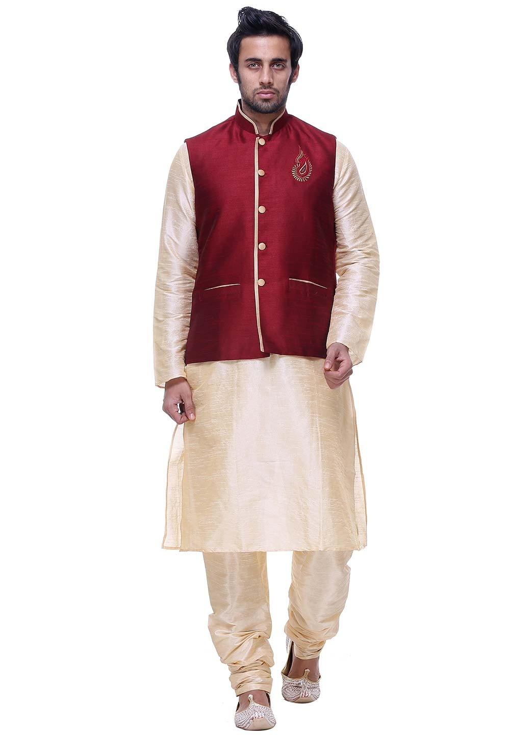 Golden Color Silk Readymade Kurta Pyjama With Jacket.