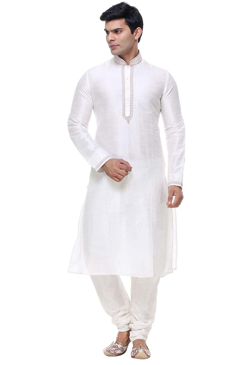 Off White Color Silk Kurta Pajama.