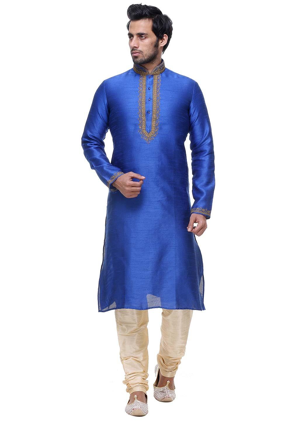 Blue Color Designer Kurta Pyjama.