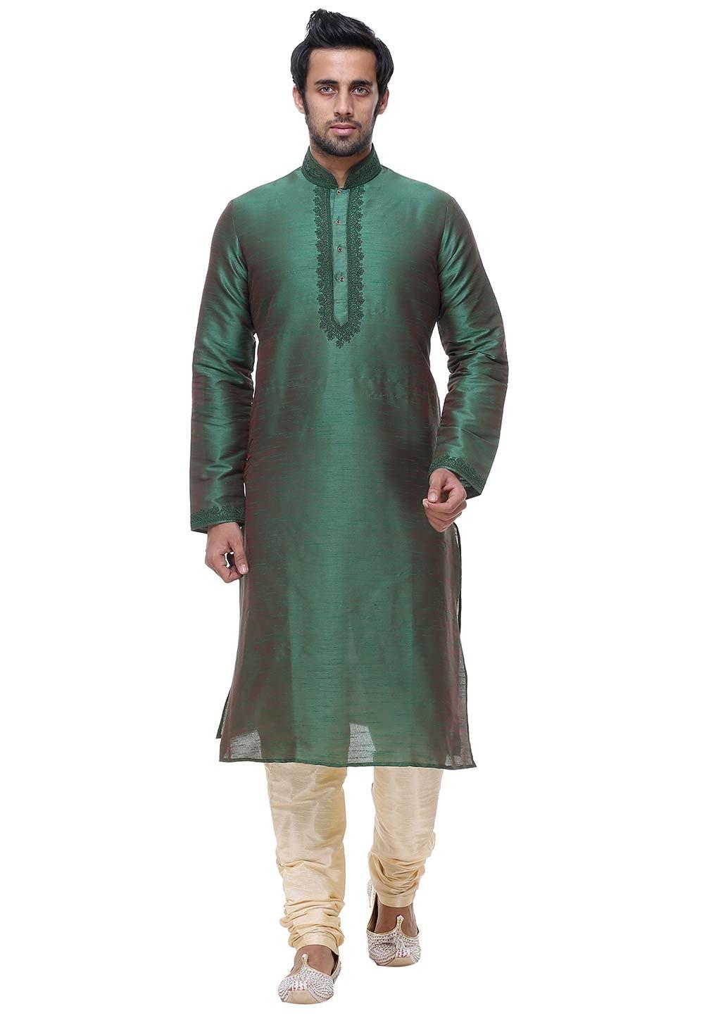 Exquisite Green Color Silk Readymade Kurta Pajama.