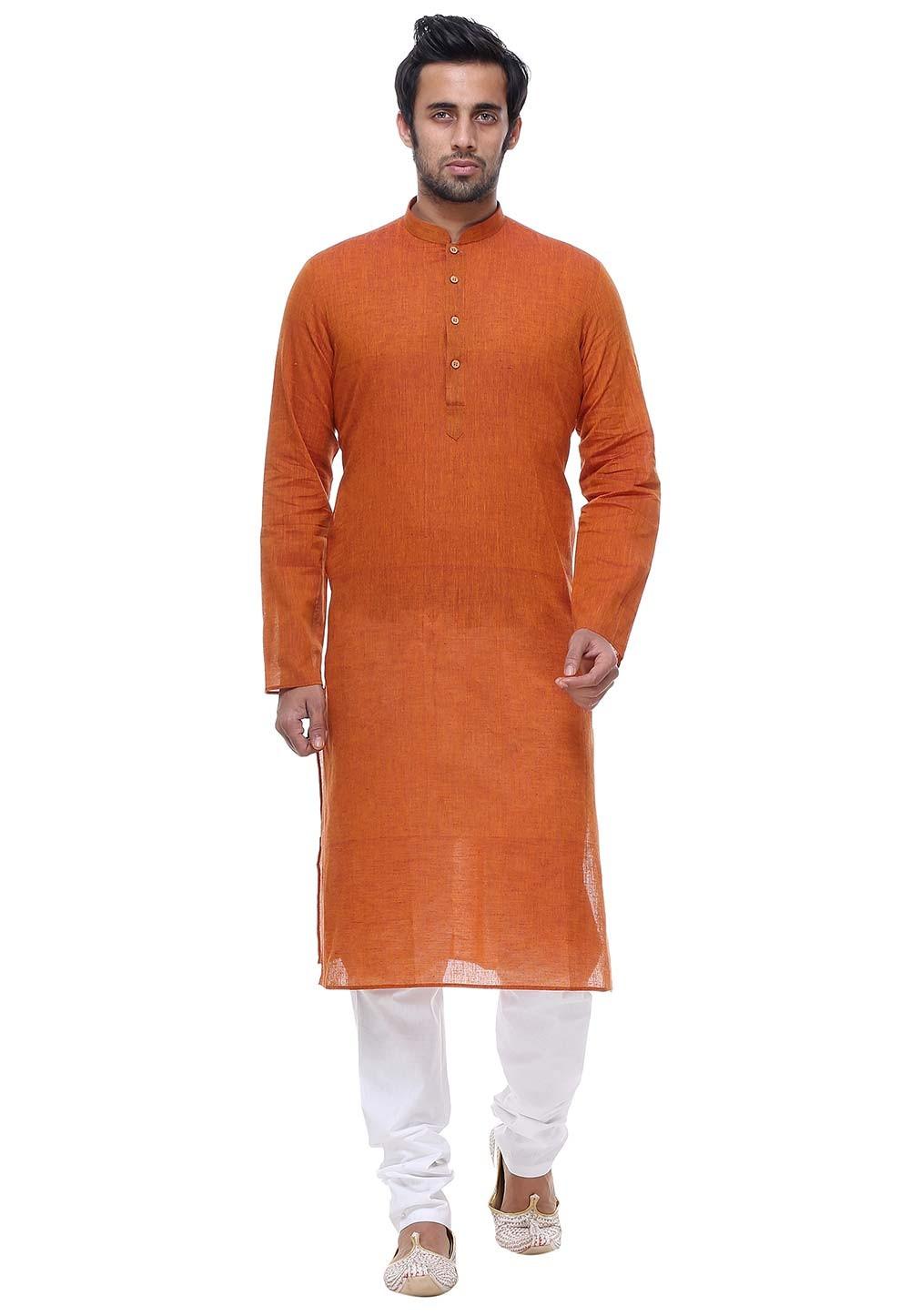 Orange Color Cotton Kurta Pajama.
