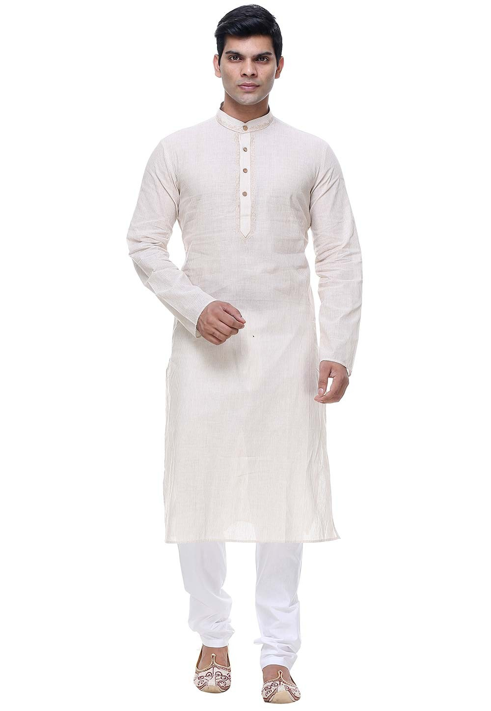 Cream Color Plain Kurta Pajama.