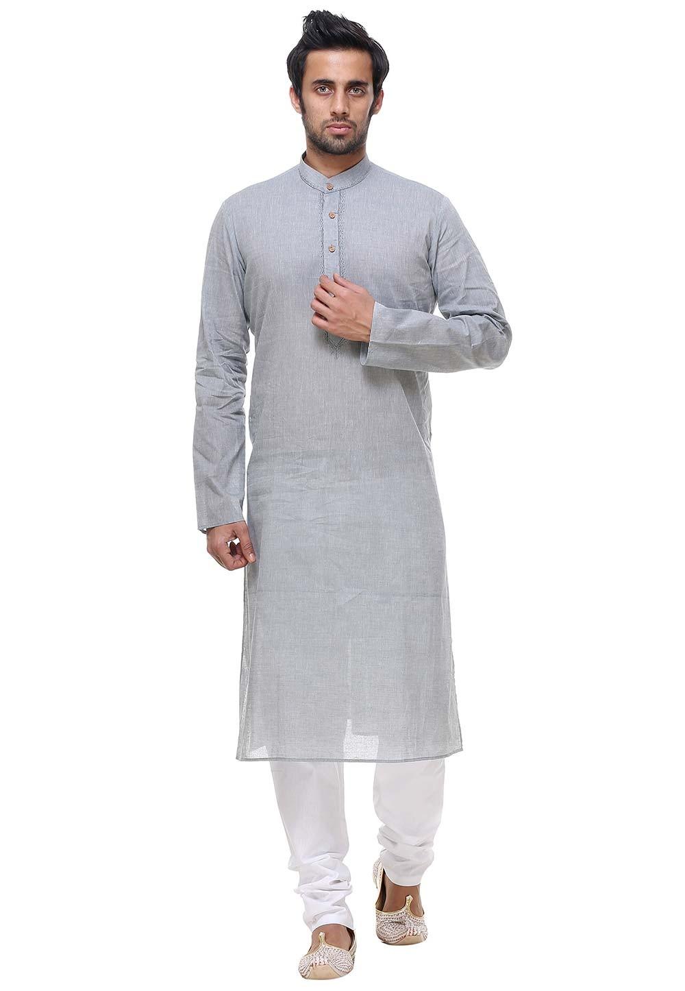 Grey Color Cotton Readymade Kurta Pajama.