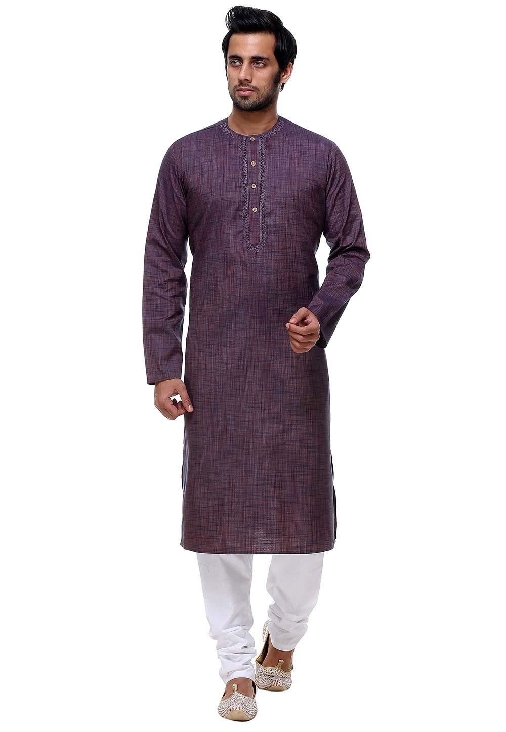 Purple Color Readymade Kurta Pajama.