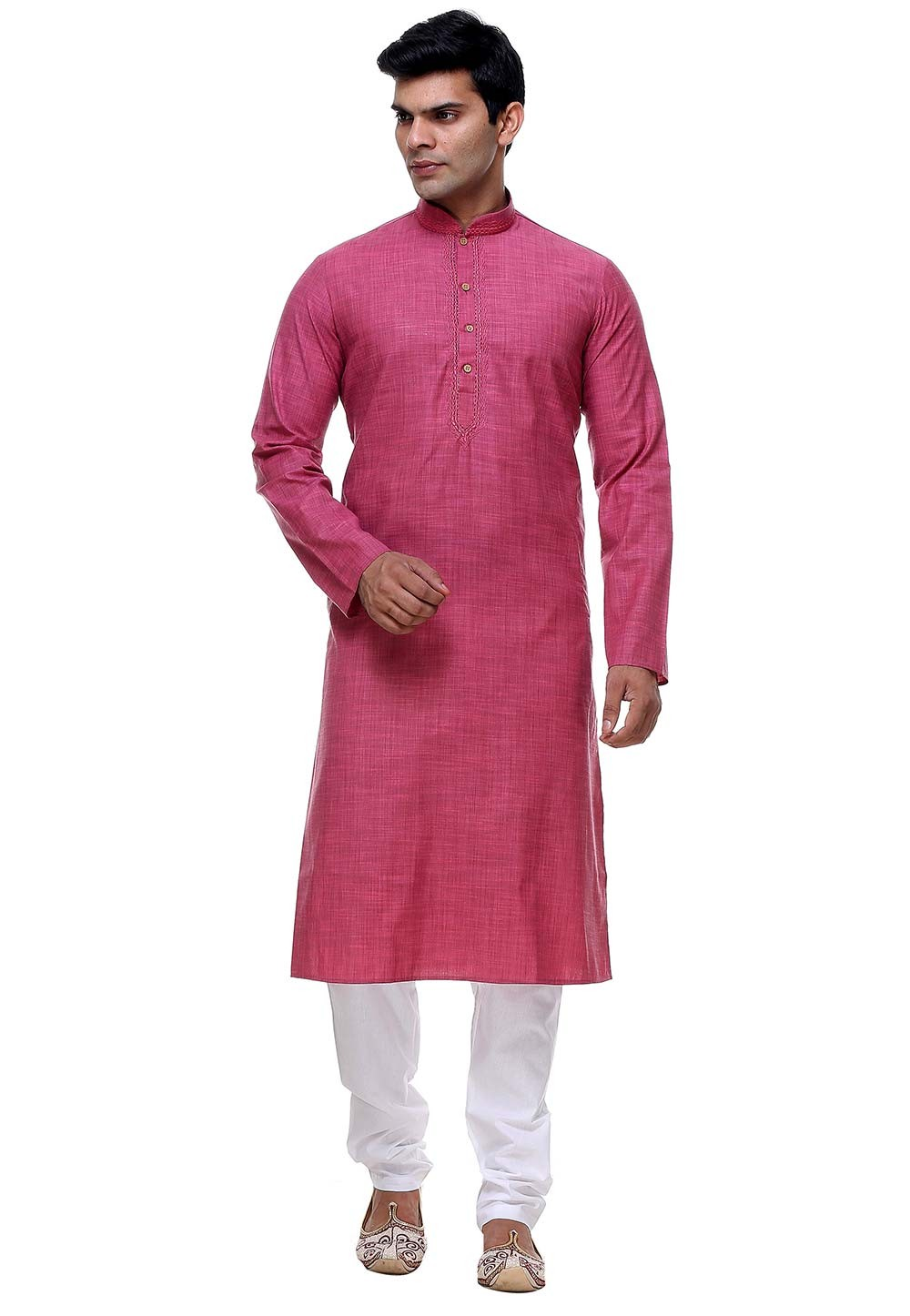 Pink Color Cotton Readymade Kurta Pajama.