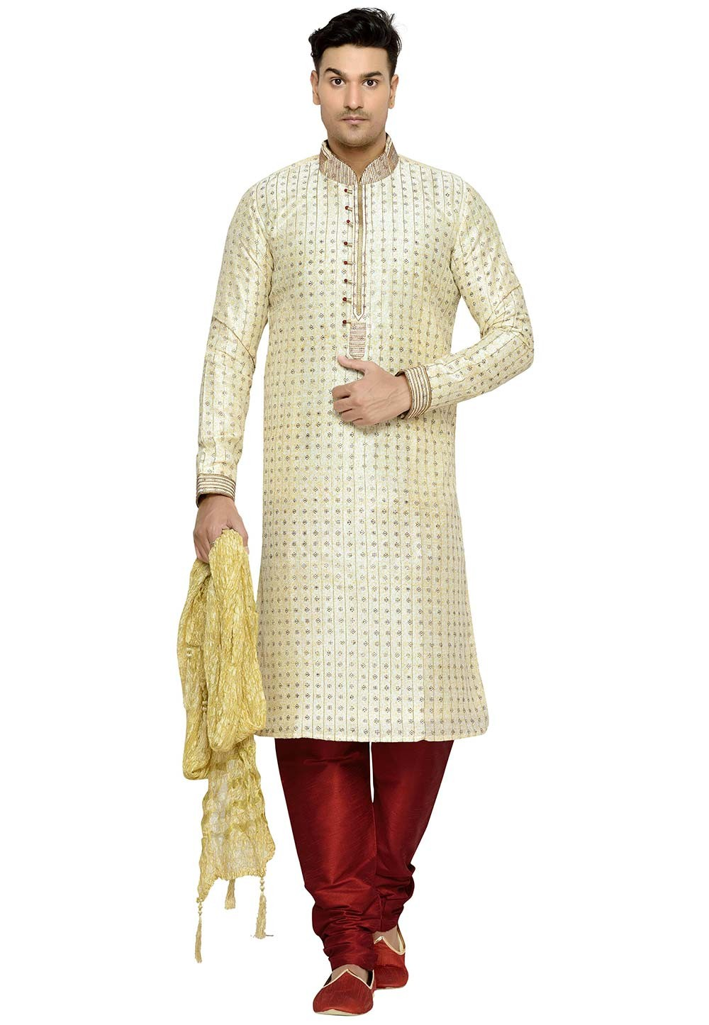 Cream Color Party Wear Kurta Pajama.