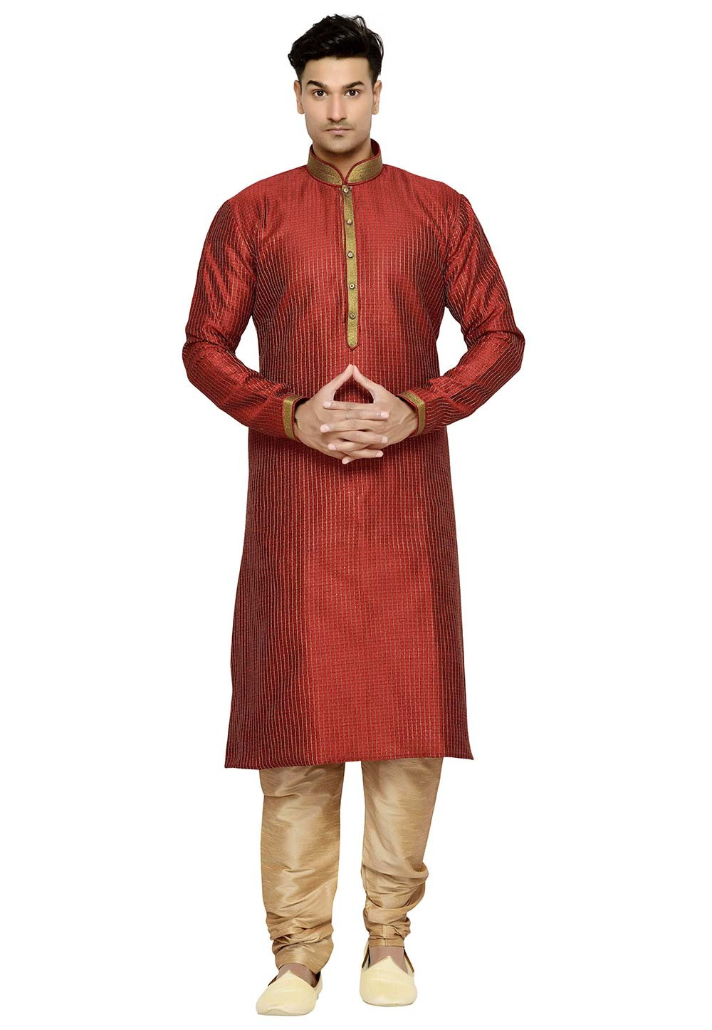 Exquisite Maroon Color Readyamde Kurta Pajama With Thread Work.