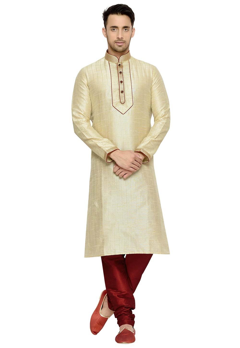 Cream Color Silk Kurta Pajama.