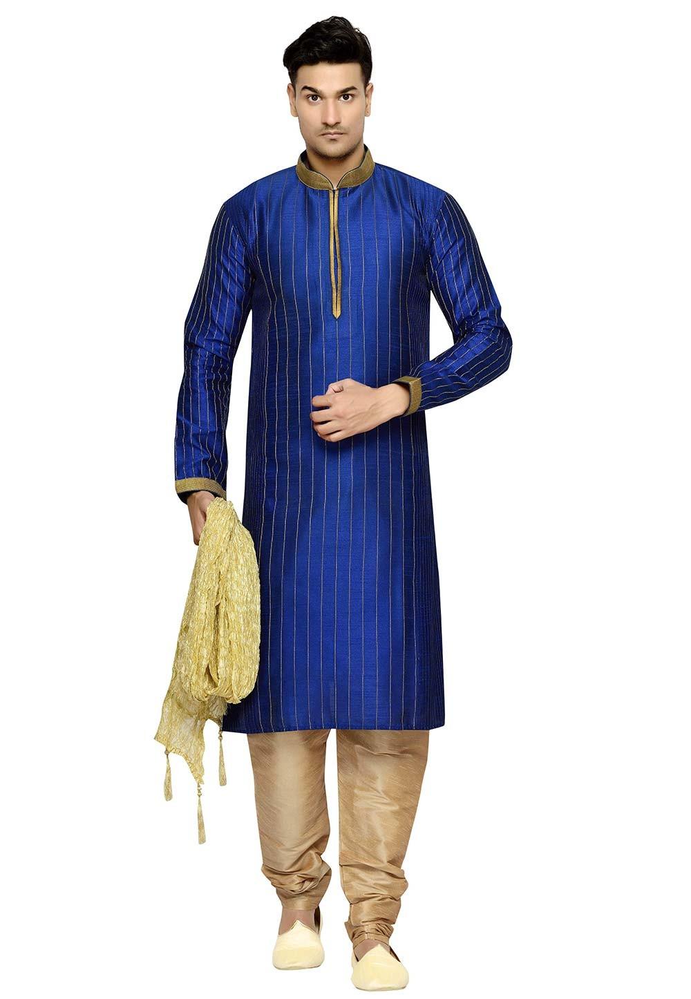 Blue Color Dupion Silk Readymade Kurta Pajama.