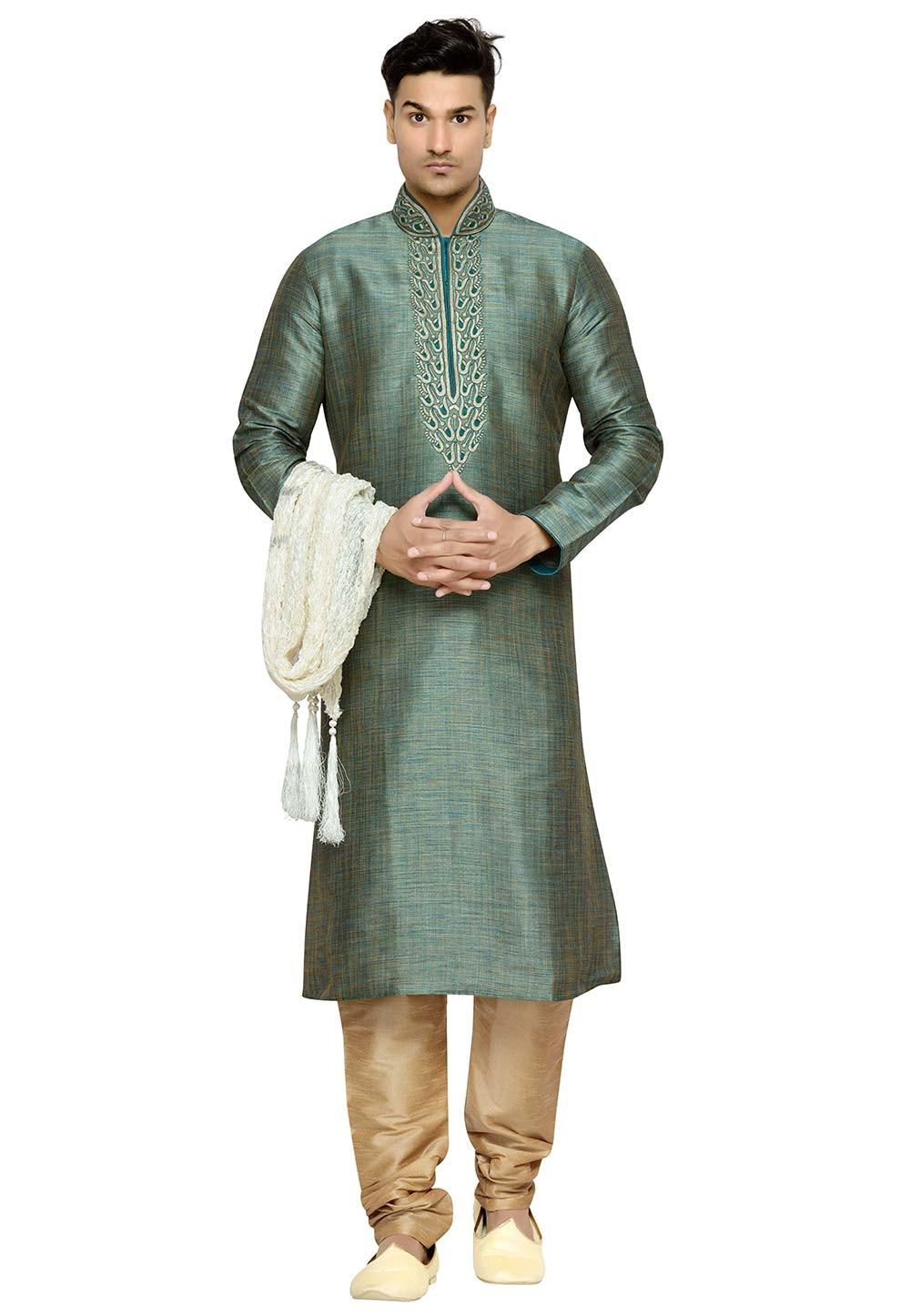 Green Color Dupion Silk Kurta Pajama.