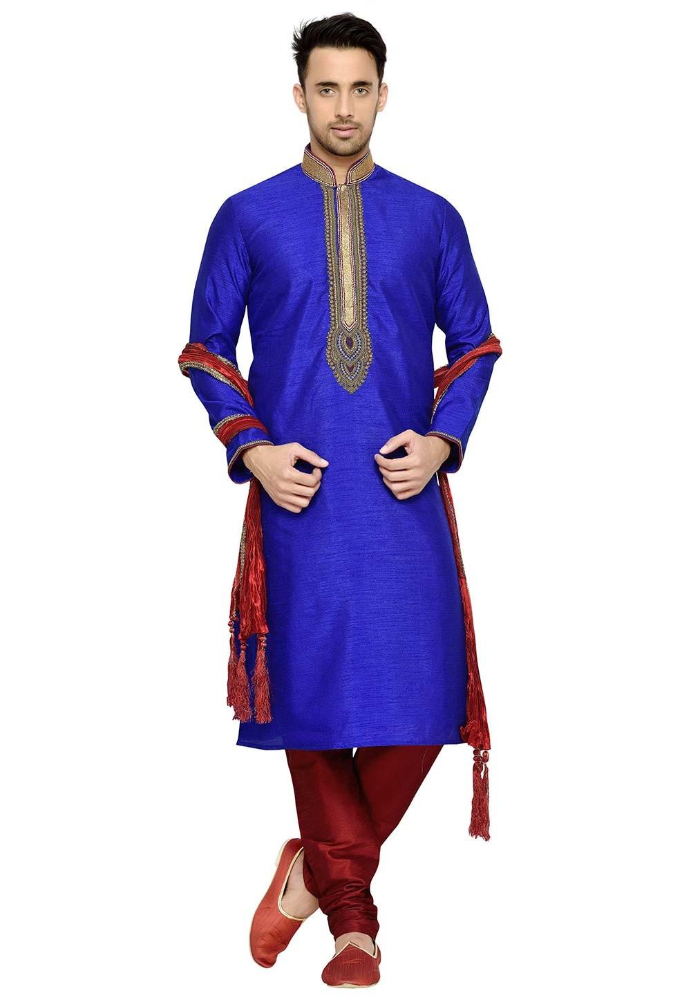 Blue Color Indian Designer Kurta Pyjama.