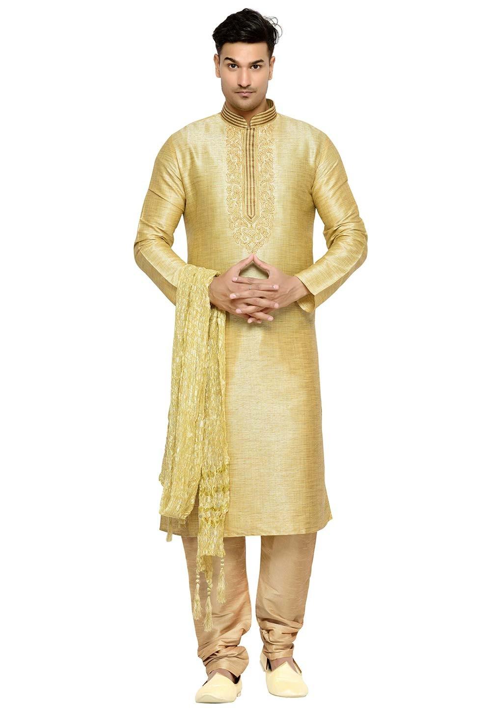 Golden Color Silk Designer Kurta Pajama.