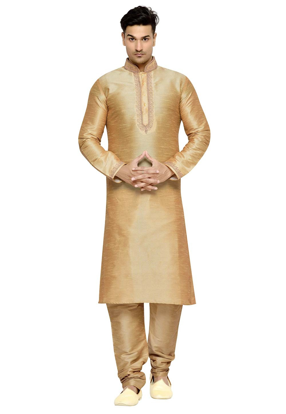 Beige Color Dupion Silk Readymade Kurta Pajama.