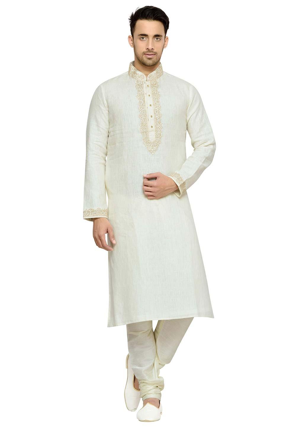 Cream Color Linen Readymade Kurta Pajama.