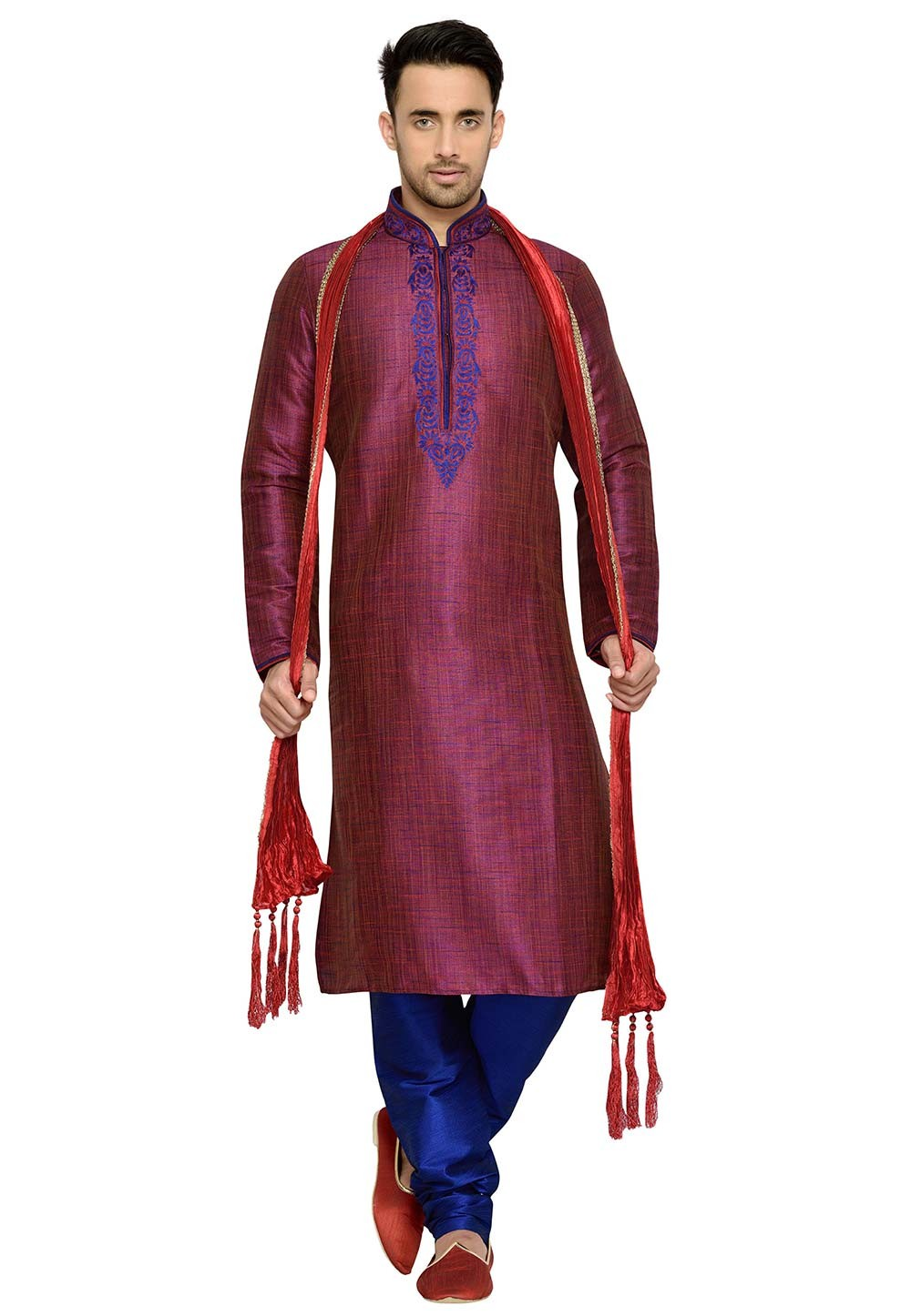 Maroon Color Party Wear Kurta Pyjama.