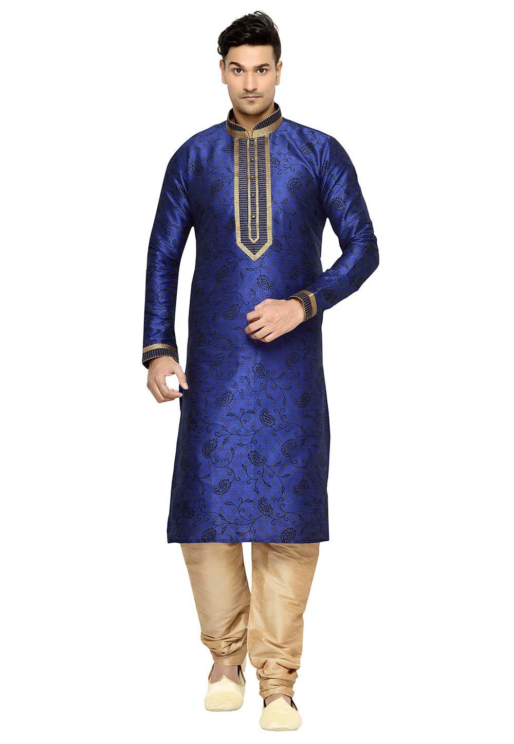 Blue Color Dupion Silk kurta Pyjama.