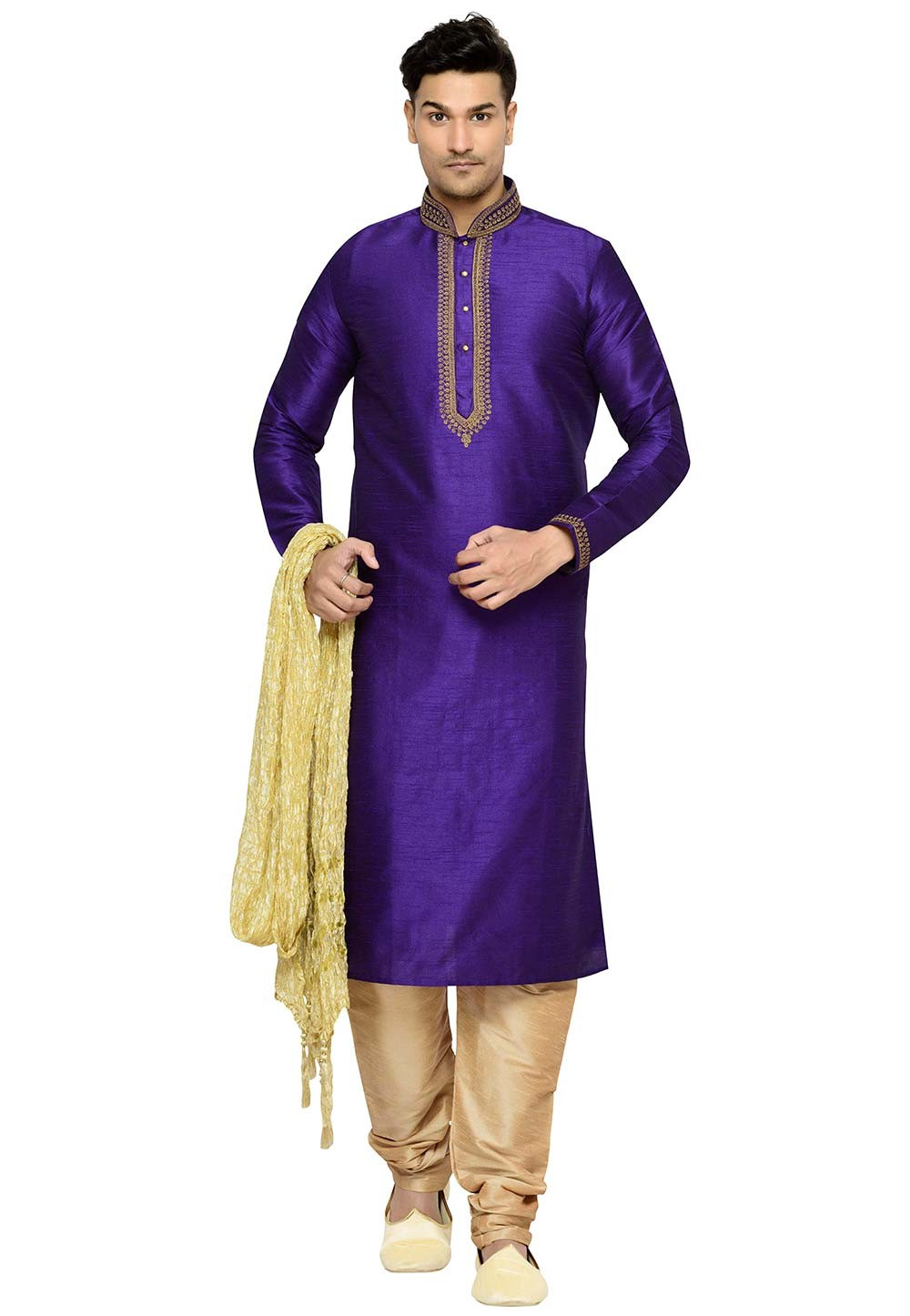 Purple Color Party Wear Kurta Pajama.