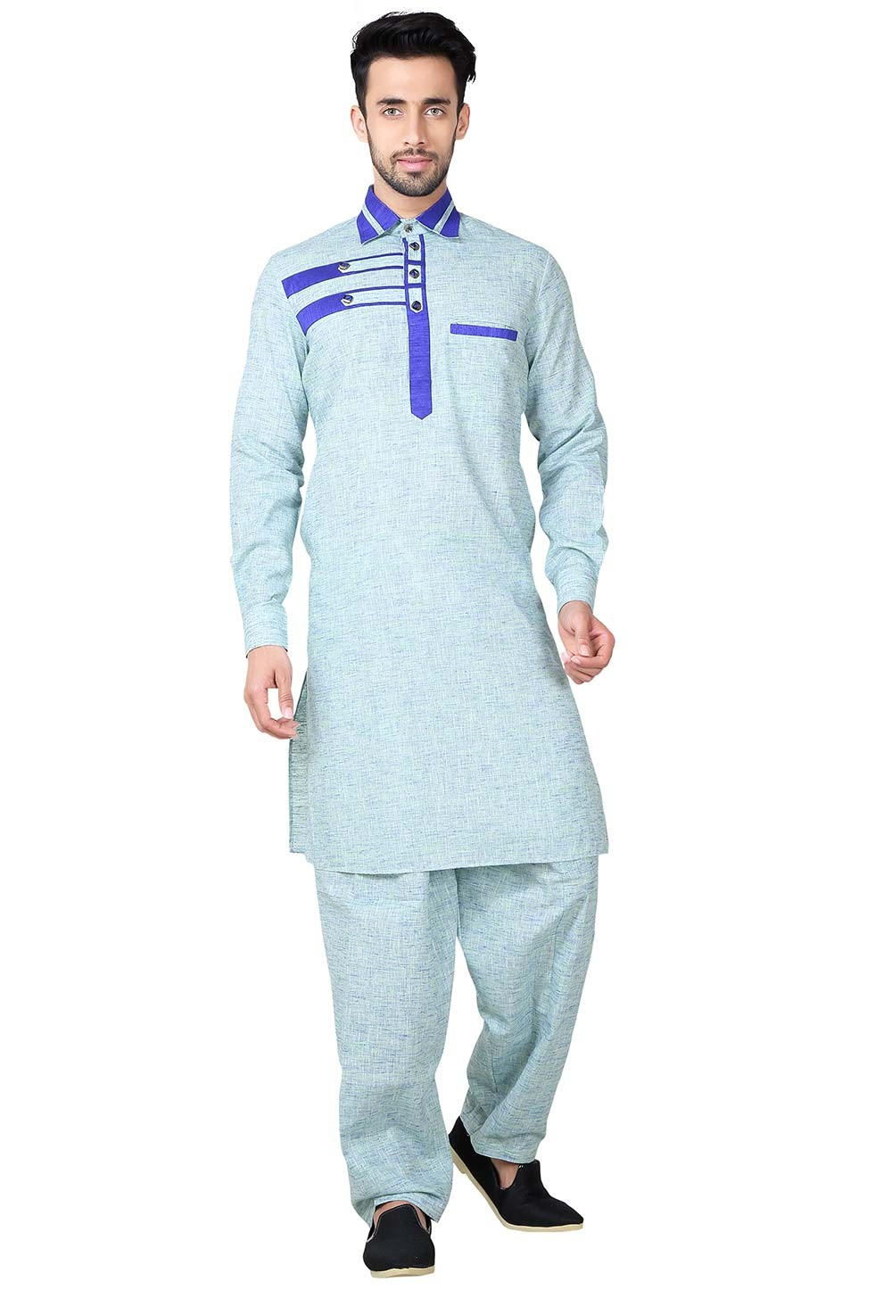 Blue Color Cotton Fabric Pathani Kurta Pajama Online