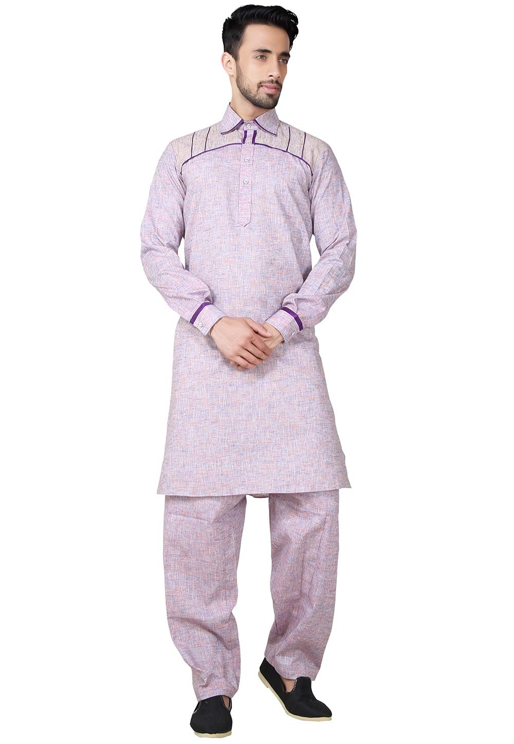 Exquisite Purple Color Cotton Pathani Kurta Pajama Online