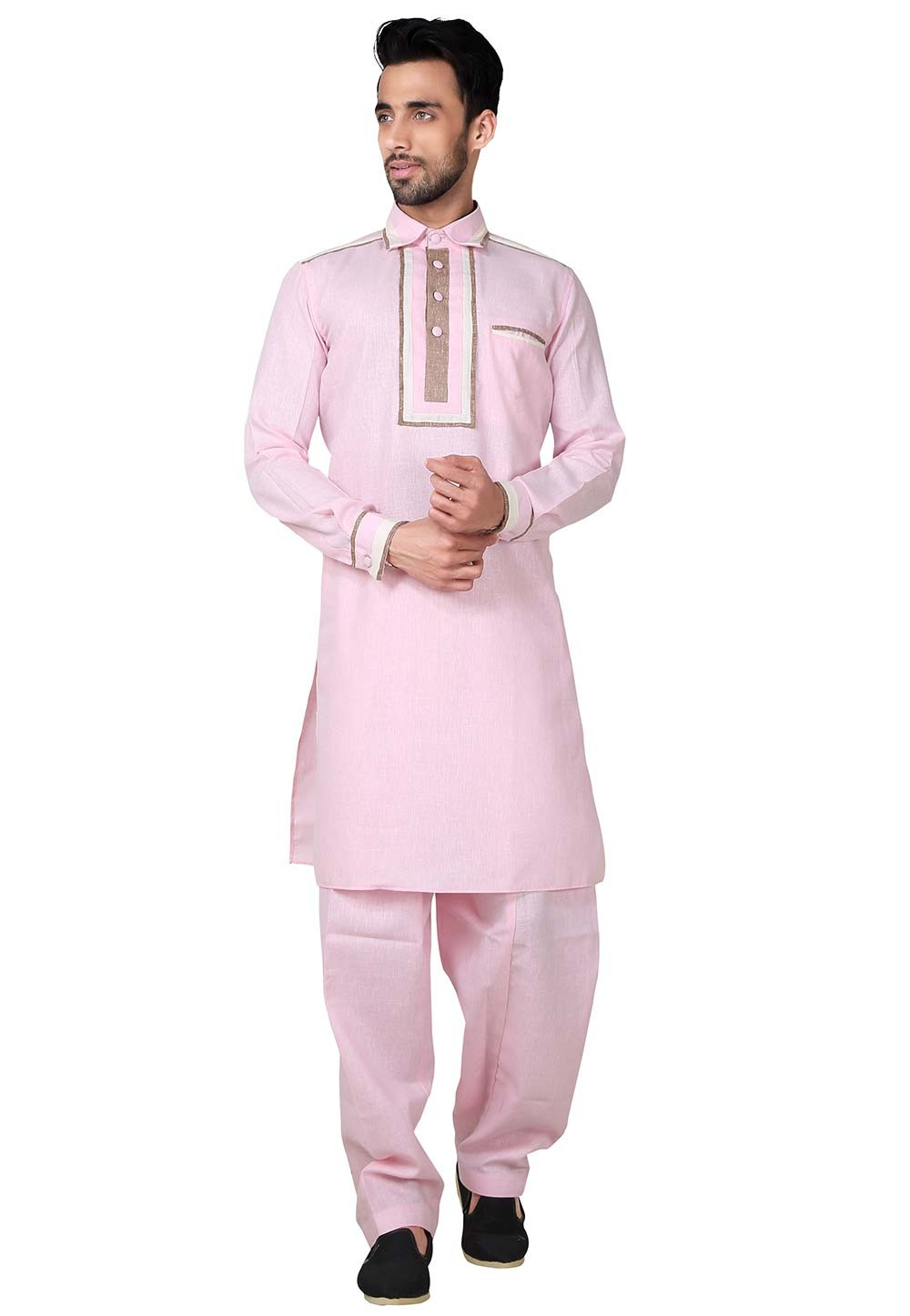 Pink Color Cotton, Linen Fabric Pathani Kurta Pajama Online
