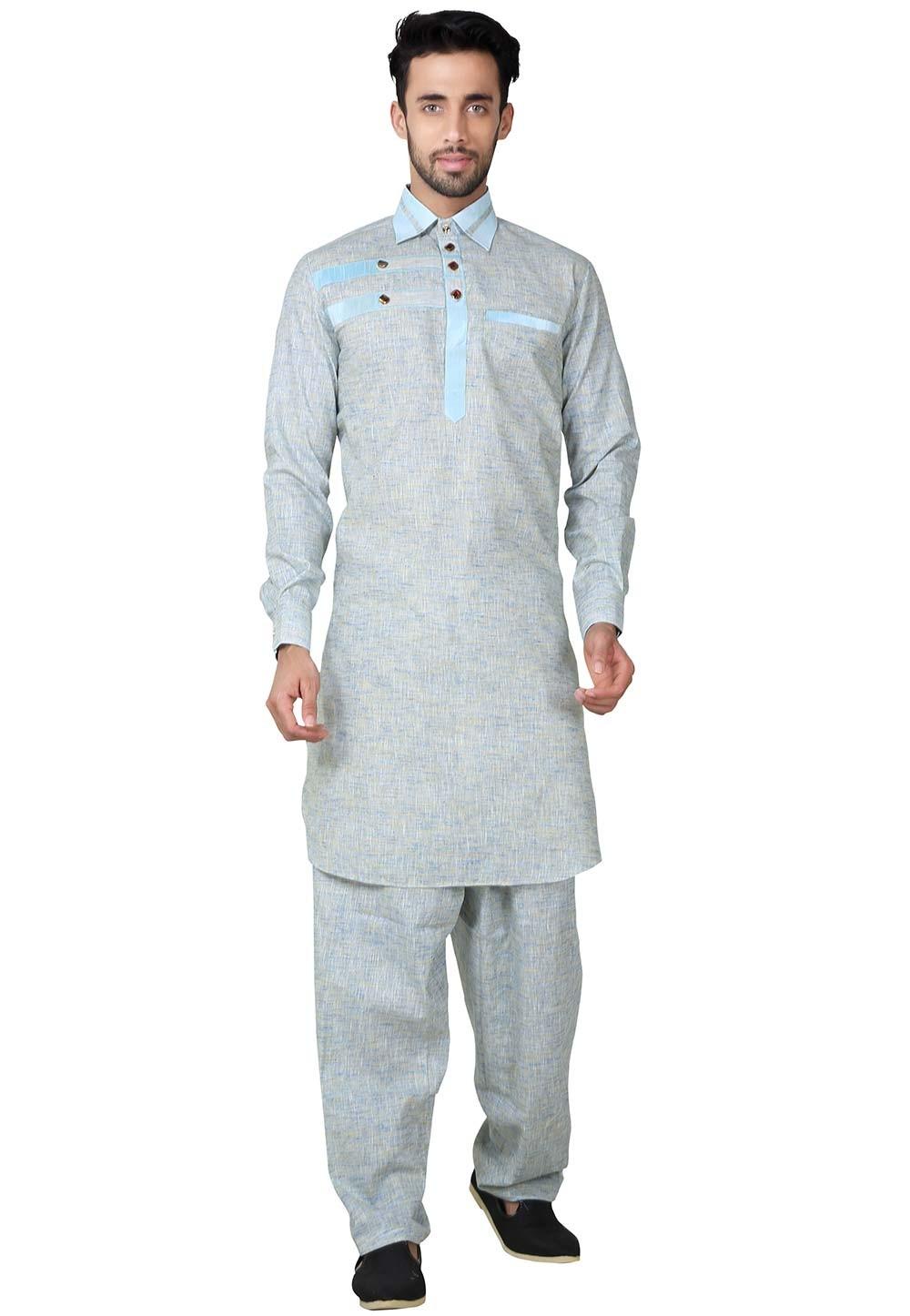 Grey Color Readymade Pathani Kurta Pajama Online