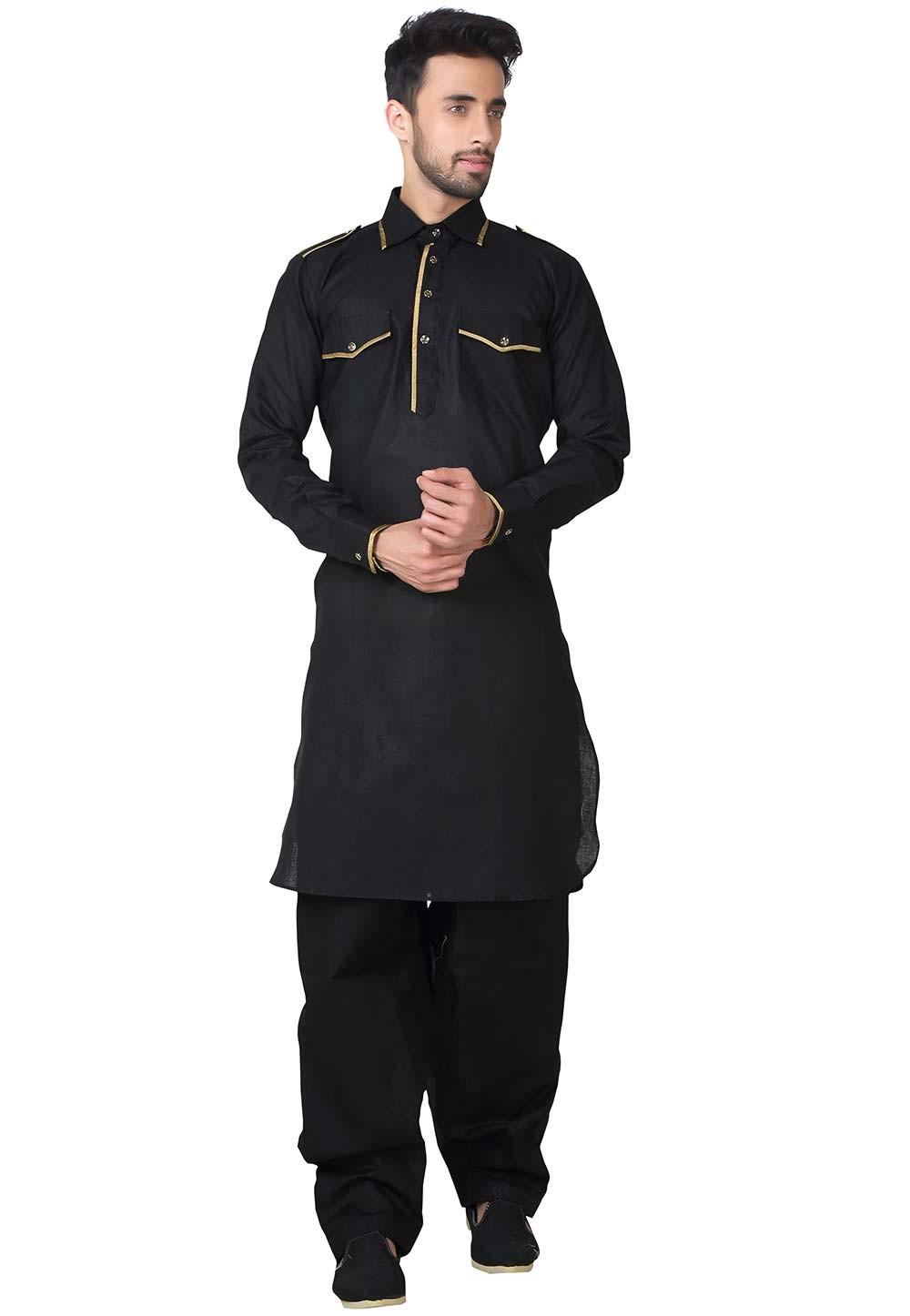 Exquisite Black Color Pathani Kurta Pajama Online