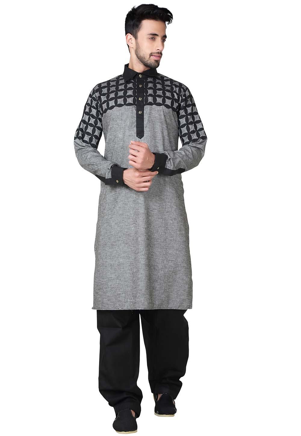 Black,Grey Color Readymade Pathani Kurta Pajama Online