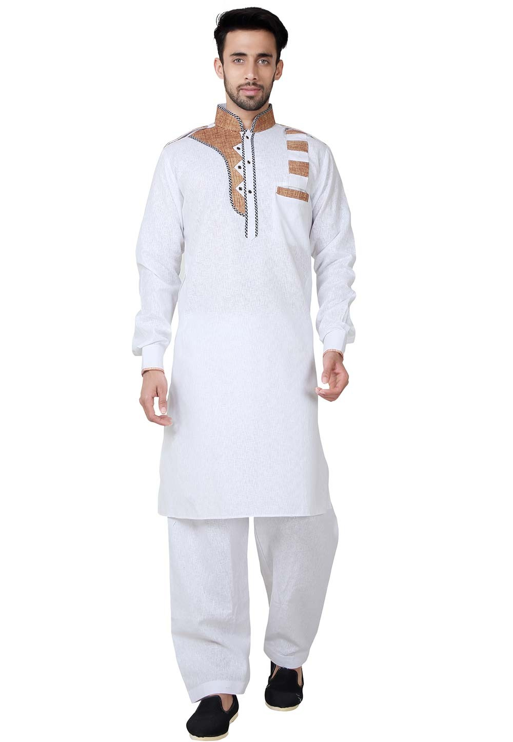 White Color Cotton,Linen Readymade Pathani Kurta Pajama Online