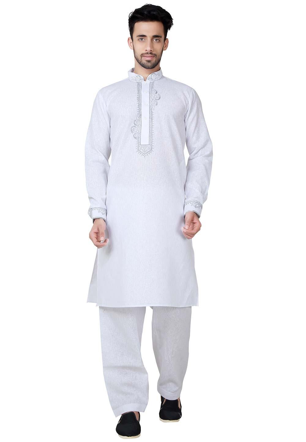 White Color Cotton Pathani Kurta Pajama Online